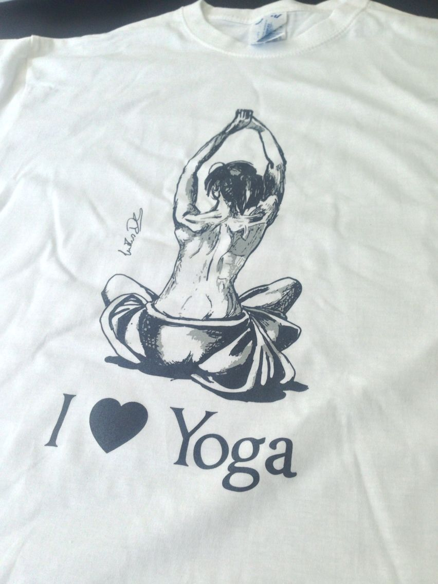 """Stampa su T-shirts in serigrafia 2 colori """"I love yoga"""". Illustrazione realizzata da """"Danilo Lindiner"""". Print by doodlestudio. #web #design #art #tshirt #print #palermo #studio #serigrafia #top #new #logo #yoga #love #graphic #brand #doodle #doodlestudio #sitiweb #grafica #photo #followus"""