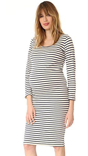 770bab495f2 MONROW Womens Maternity Stripe Long Sleeve Dress Natural Small -- Click  image to review more details.Note It is affiliate link to Amazon.