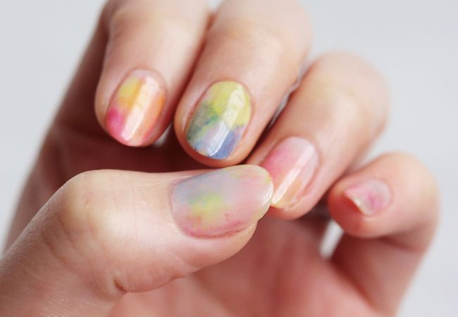 Skinny Tips Diy Watercolor Nail Art Water Color Nails Japanese