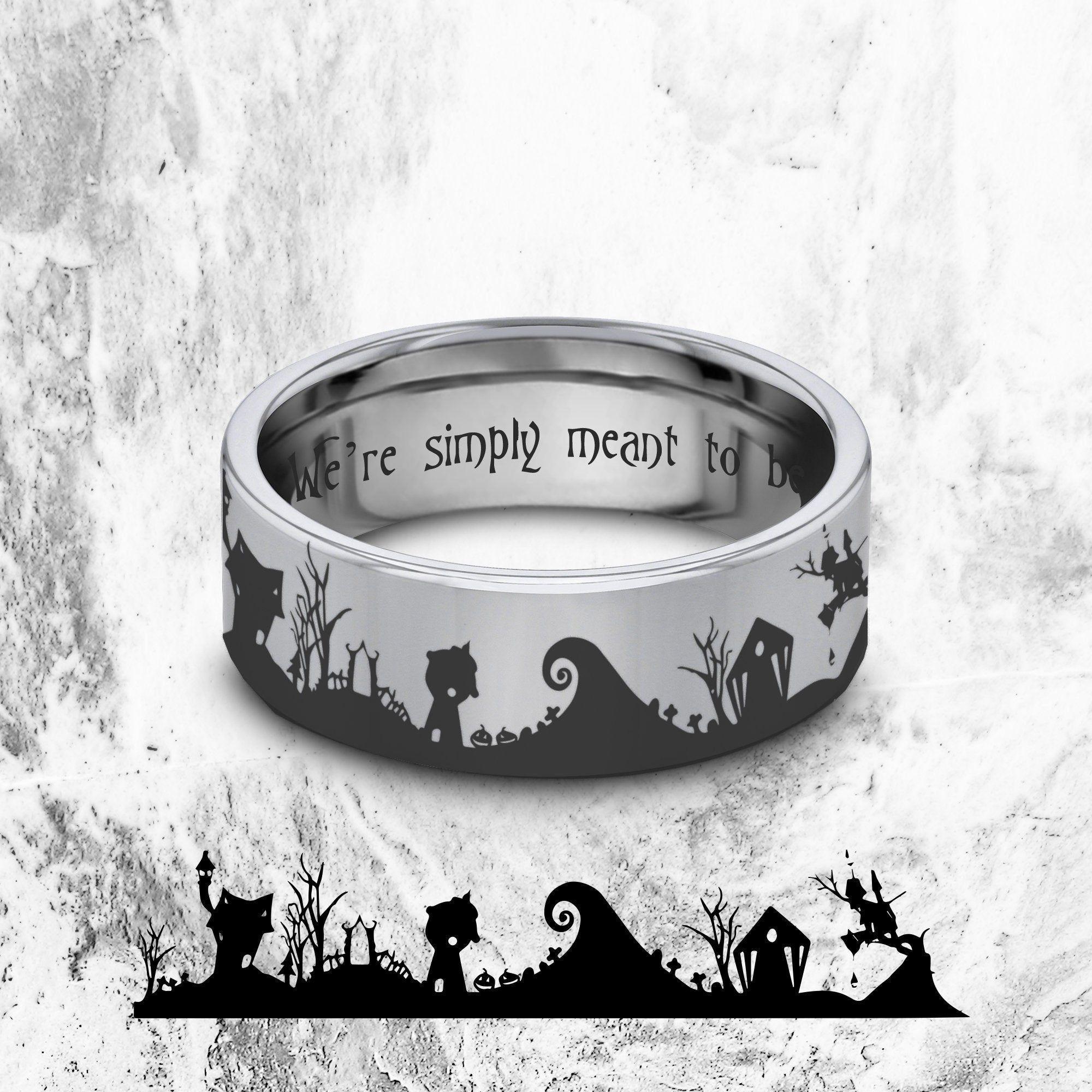 Nightmare Before Christmas Wedding Ring Jack Skellington Wedding Band Hallowee In 2020 Nightmare Before Christmas Wedding Christmas Wedding Ring Wedding Rings Online