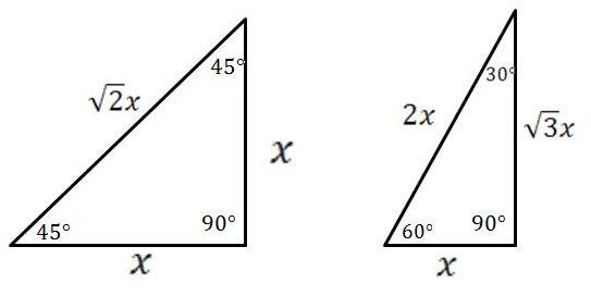 Special Right Triangles 30 60 90 And 45 45 90 Degrees Right