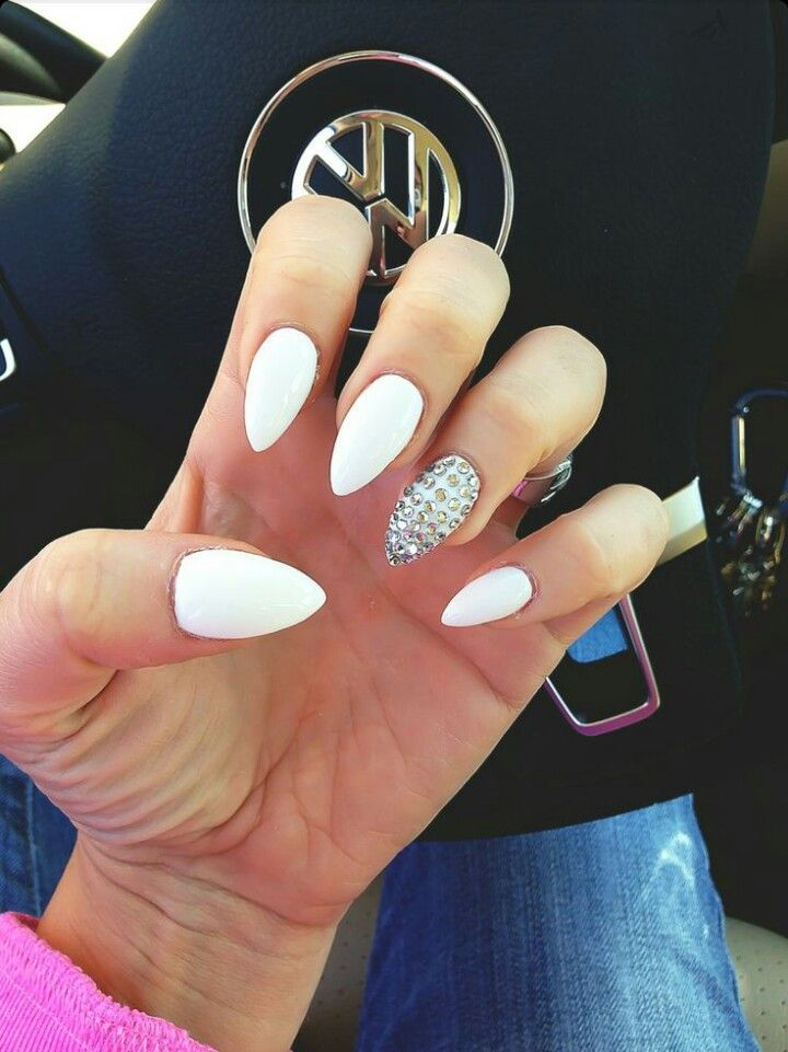 White Almond Shape Acrylic Nails w/ Rhinestones: - White Almond Shape Acrylic Nails W/ Rhinestones: Hair Did, Nails
