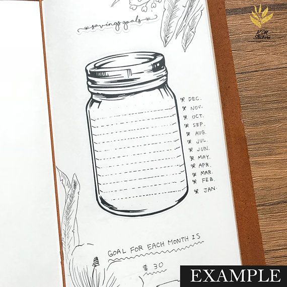 mason jar stickers for bullet journal saving goals mood
