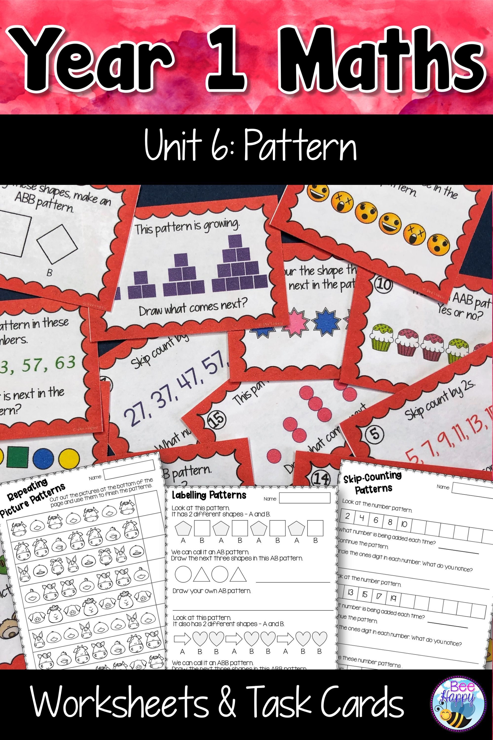 Australian Curriculum Patterns Worksheets And Task Cards