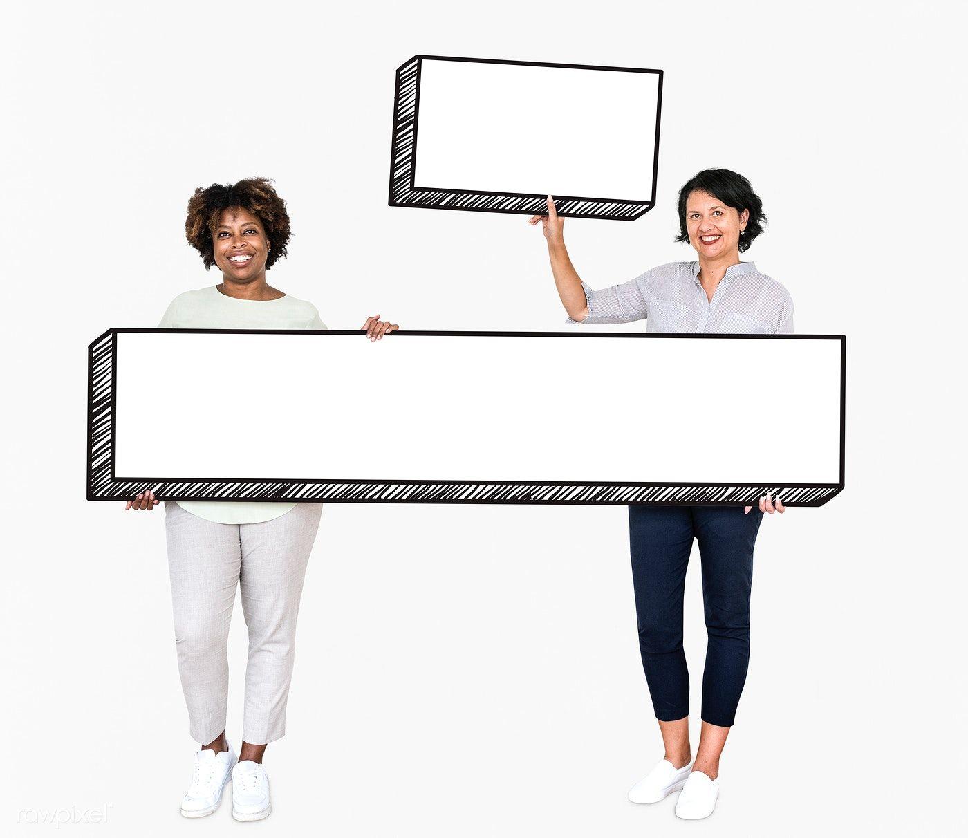 Happy Women Holding Two Empty Boards