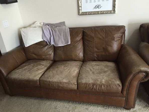 Leather couch cushions beyond repair diy furniture for How to paint leather furniture