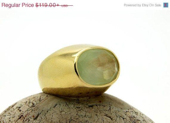 VENDITA 25% OFF  anello Prehnite grande anello di AnemoneJewelry
