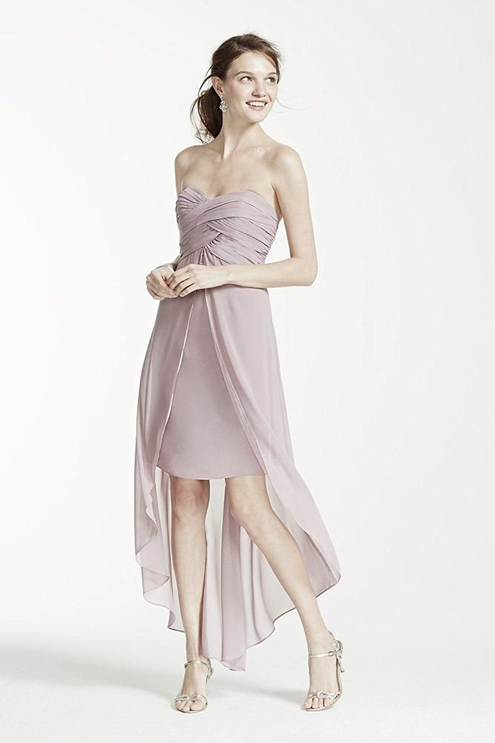 Strapless high low bridesmaid dress with front detail style f