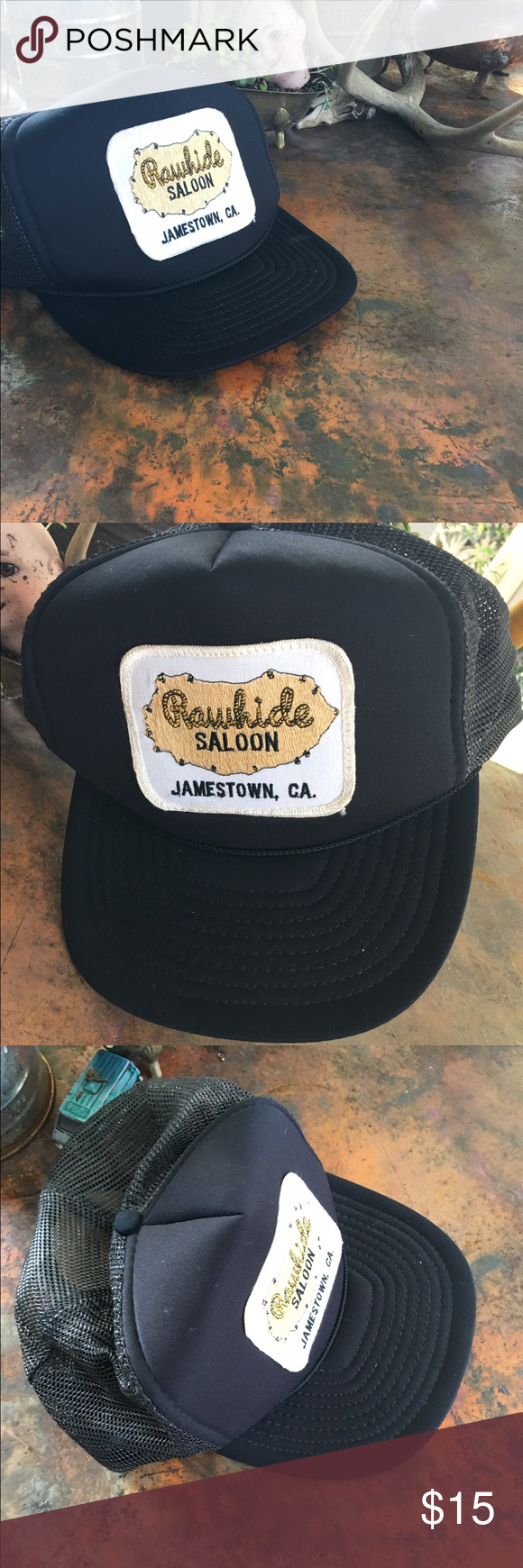 Vintage rawhide saloon snap back trucker hat Vintage black 37a3dff40a19