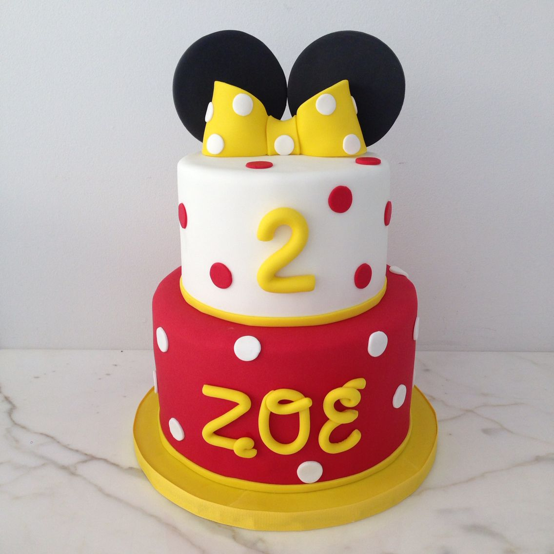 Minnie Mouse Cake Yellow Red And White Polka Dots Are