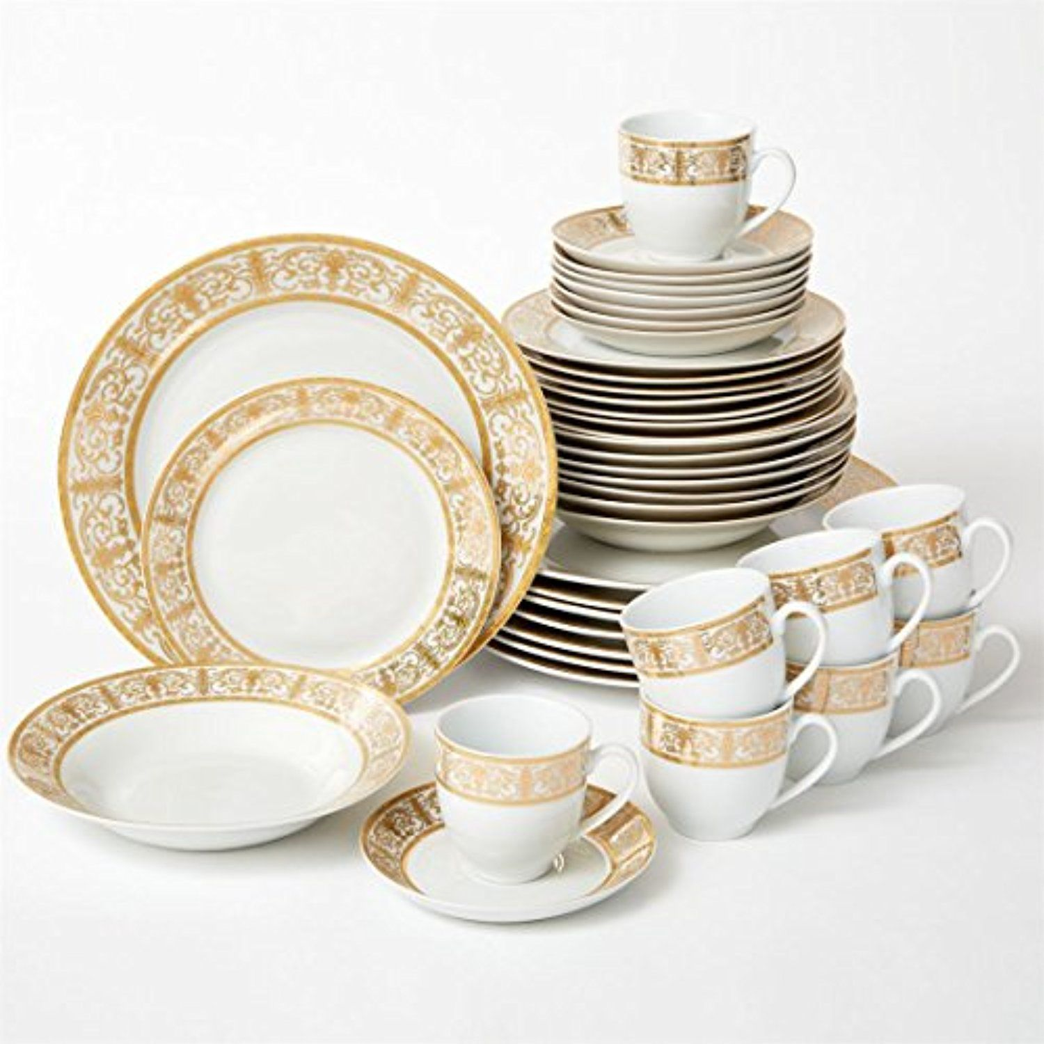 Brylanehome 40 Pc Golden Ceramic Dinnerware Set Gold White More Info Could Be Found At The Imag Ceramic Dinnerware Set Ceramic Dinnerware Dinnerware Set