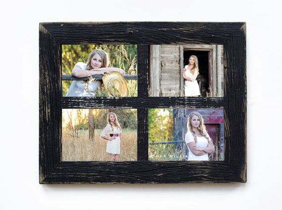 2 4 Hole 8x10 Barn Window Collage Picture Frame Black Distressed
