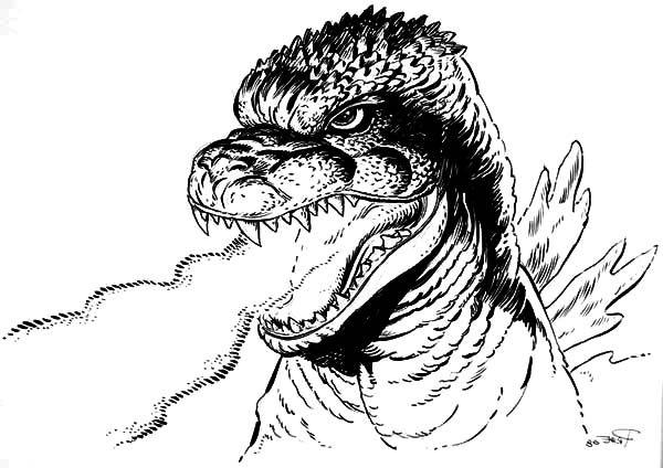 Godzilla, : Godzilla Dangerous Fire Breath Coloring Pages