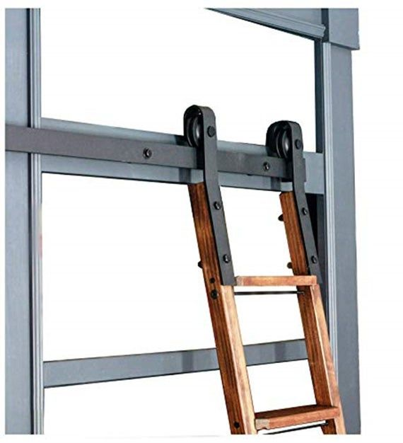 Diyhd Rustic Black Industrial Sliding Library Rolling Ladder Hardware No Ladder Rolling Ladder Library Ladder Sliding Ladder