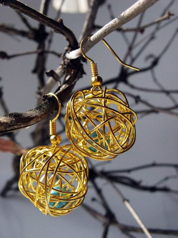 Wire Wrapped Golden Earrings