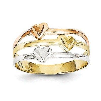 10k Gold Polished Tri-color Heart Ring