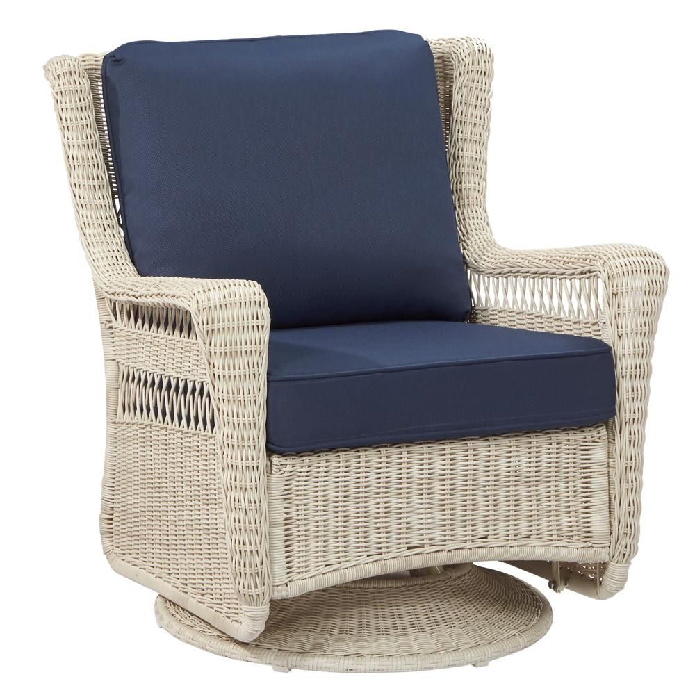 Hampton Bay Park Meadows Off White Swivel Rocking Wicker Outdoor Lounge  Chair With Midnight Cushion | Pinterest | Outdoor Lounge, Patio Lounge  Chairs And ...