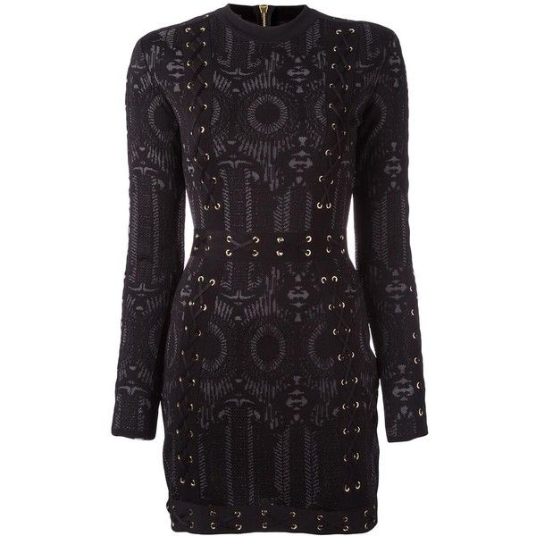 Balmain lace-up detailing fitted dress (7.860 BRL) ❤ liked on Polyvore featuring dresses, black, rayon dress, lace up front dress, fitted dresses, balmain dress and tight dresses