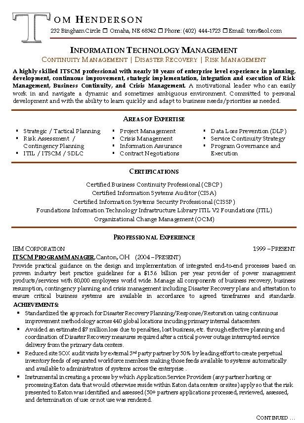 management resume example sample resumes risk manager prepared - management sample resumes