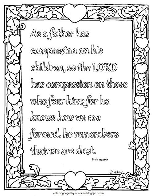 Printable Psalm 103 13 14 Coloring Page As A Father Has