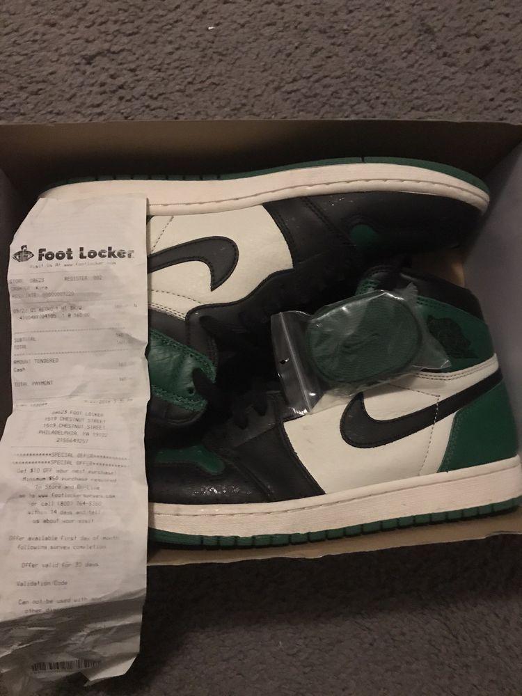 Air Jordan Retro 1 High Og Pine Green Worn Size 10 5 100 Auth W Receipt Fashion Clothing Shoes Accessories Air Jordans Retro Jordan Retro 1 Air Jordans