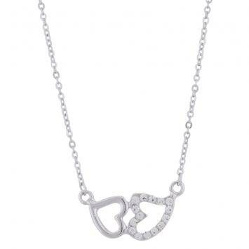 Curly Sue Double Heart Pendant Necklace (Silver)