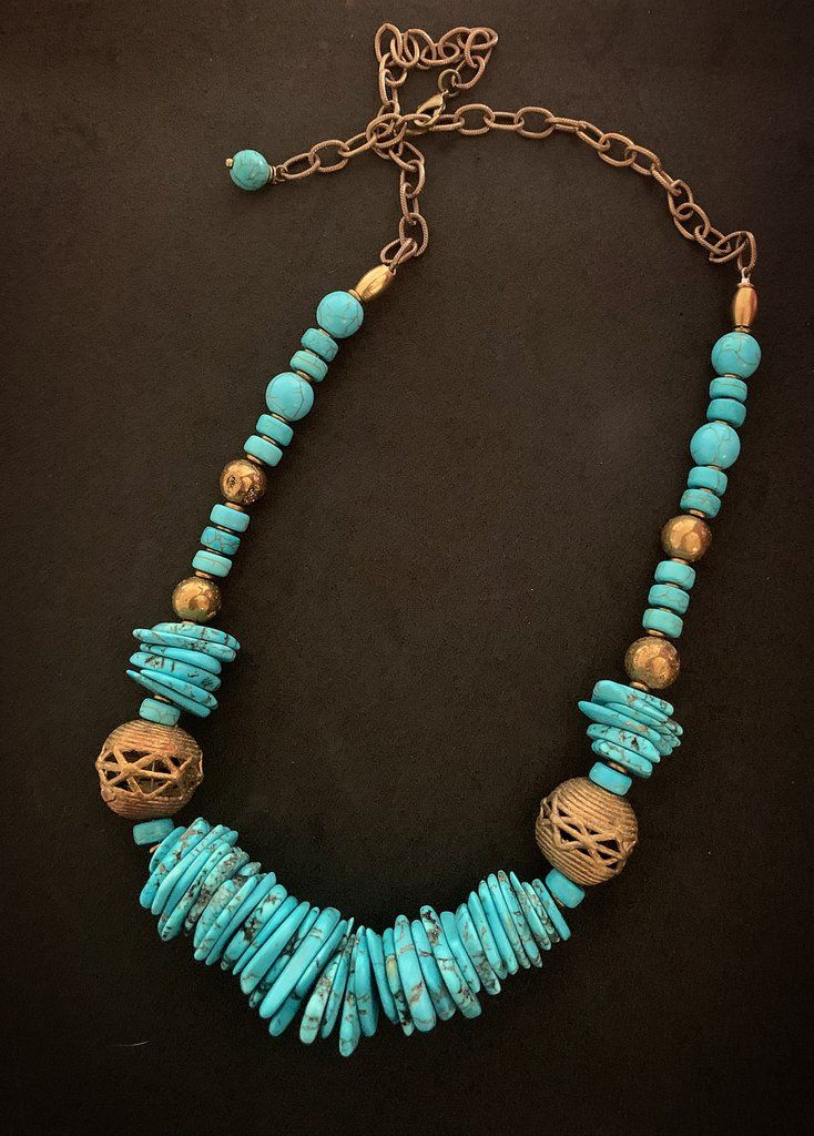 Photo of Blue turquoise, African gold metal, druzy stone, statement necklace.