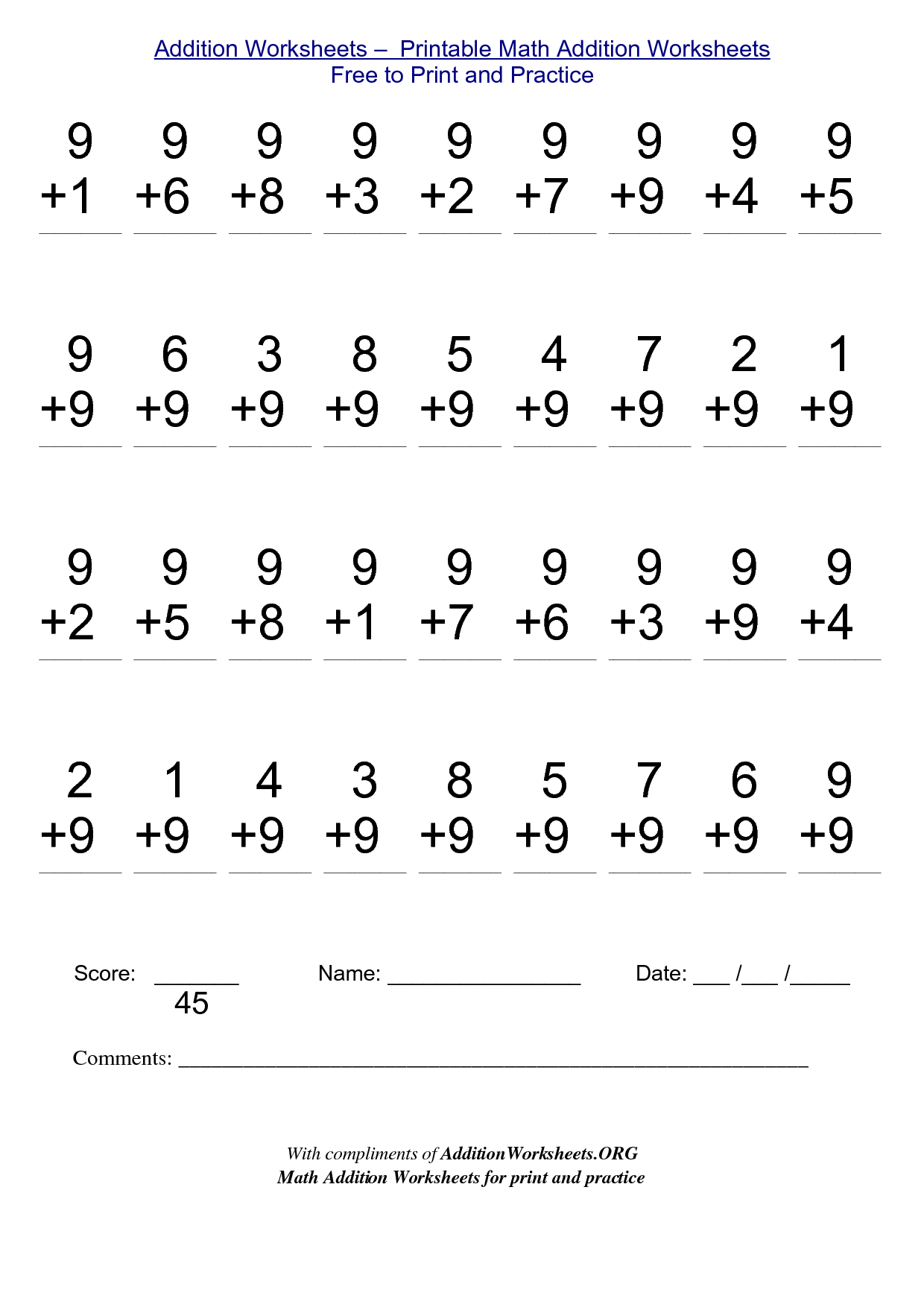 Free Worksheet 100 Addition Facts 120 For Educators – Free Addition Worksheet