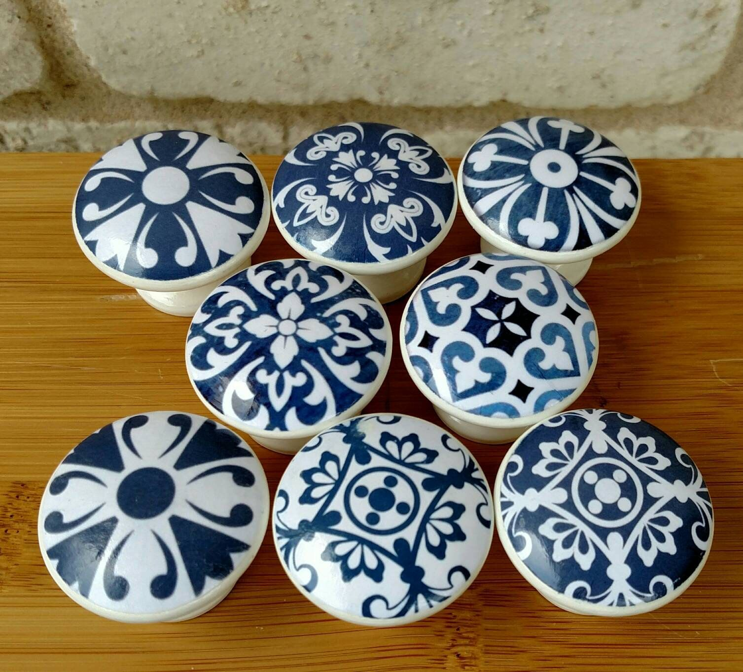 Blue white tile wood drawer knobs pulls on cherry wood size