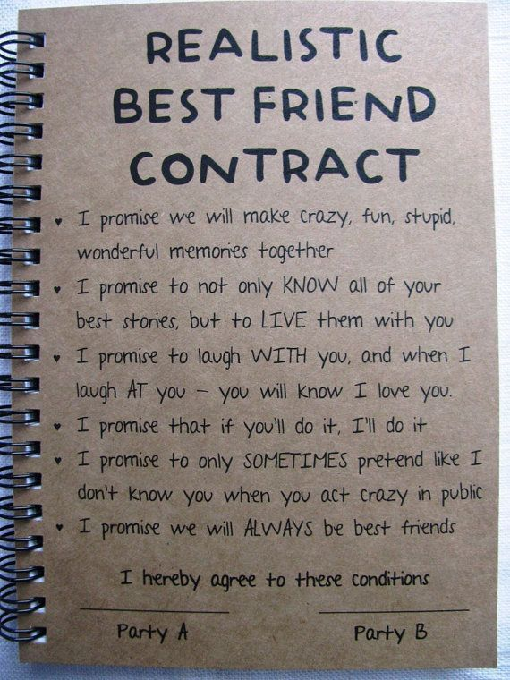 Best Friend Contract 5 x 7 it from Etsy BFFGoals Daily