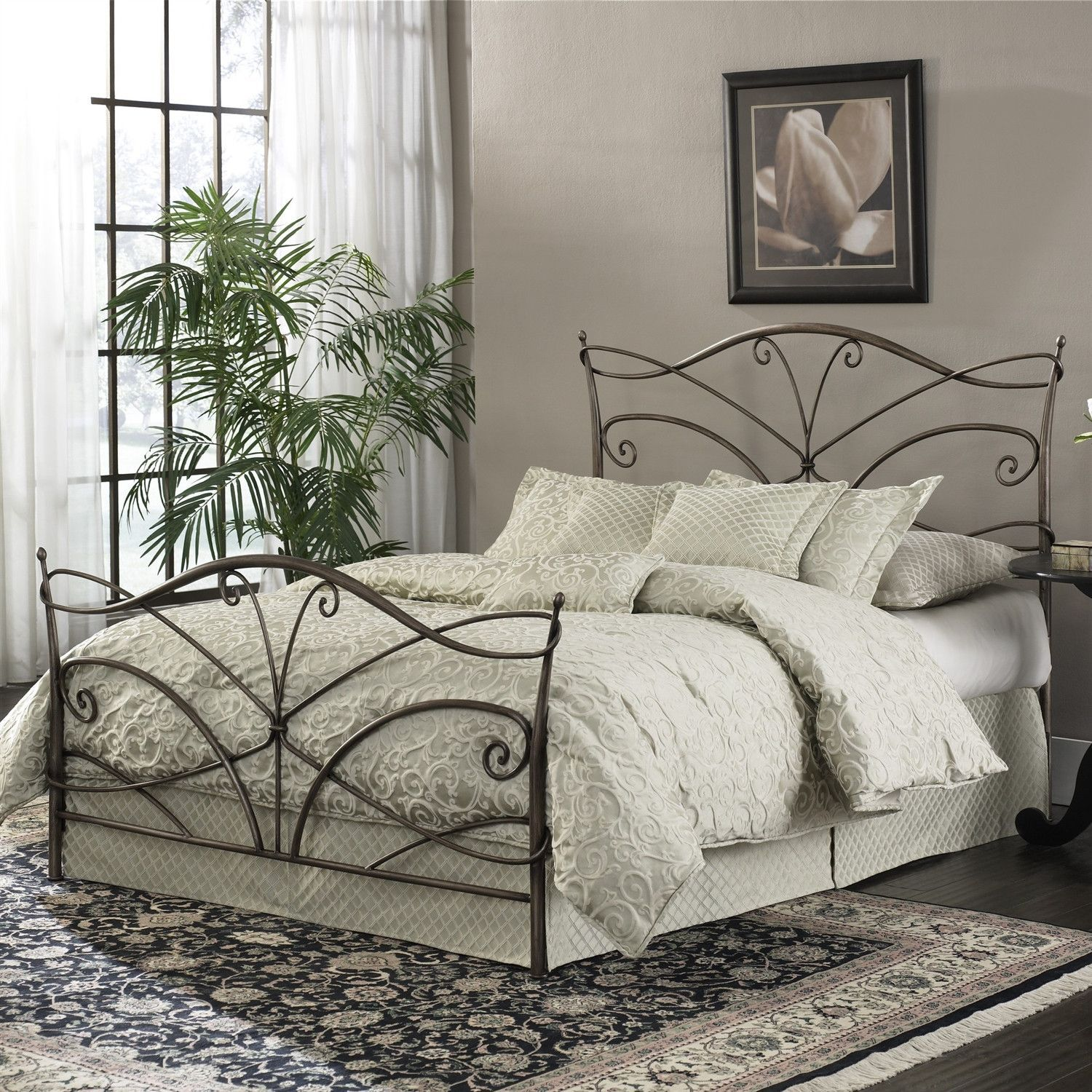 Queen size Metal Bed with Headboard and Footboard in Brushed Bronze ...