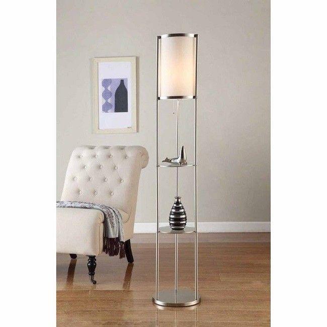 Floor Lamps Living Room Shelves Stand Up Round Steel Soft Elegant Light Den Bath Floor Lamp With Shelves Cool Floor Lamps Floor Lamp Design