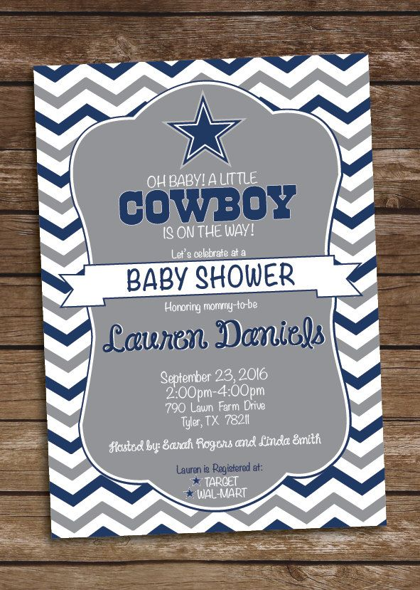 Baby Shower Stores In Dallas Tx ~ Cowboys inspired football baby shower invitation