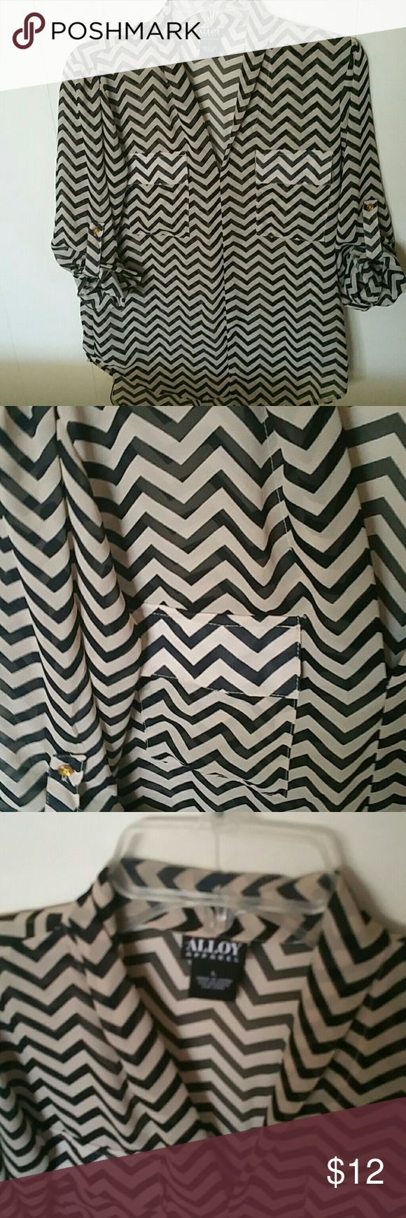 """Boutique Chiffon Zig Zag Hi Lo Blouse Purchased at a boutique Worn once.. chiffon sheer tan and black Zig zag.. hi-lo blouse .. Sz L. Longer on rear of blouse. Adjustable button up 3/4 sleeves. Under armpit to under armpit 19"""" Length from shoulder to end of blouse 24.5"""" on front & 30.5"""" on rear Alloy Apparel  Tops Blouses"""