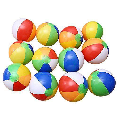 Fashionwu 12pcs 12 Inflatable Beach Balls Ater Polo Birthday New