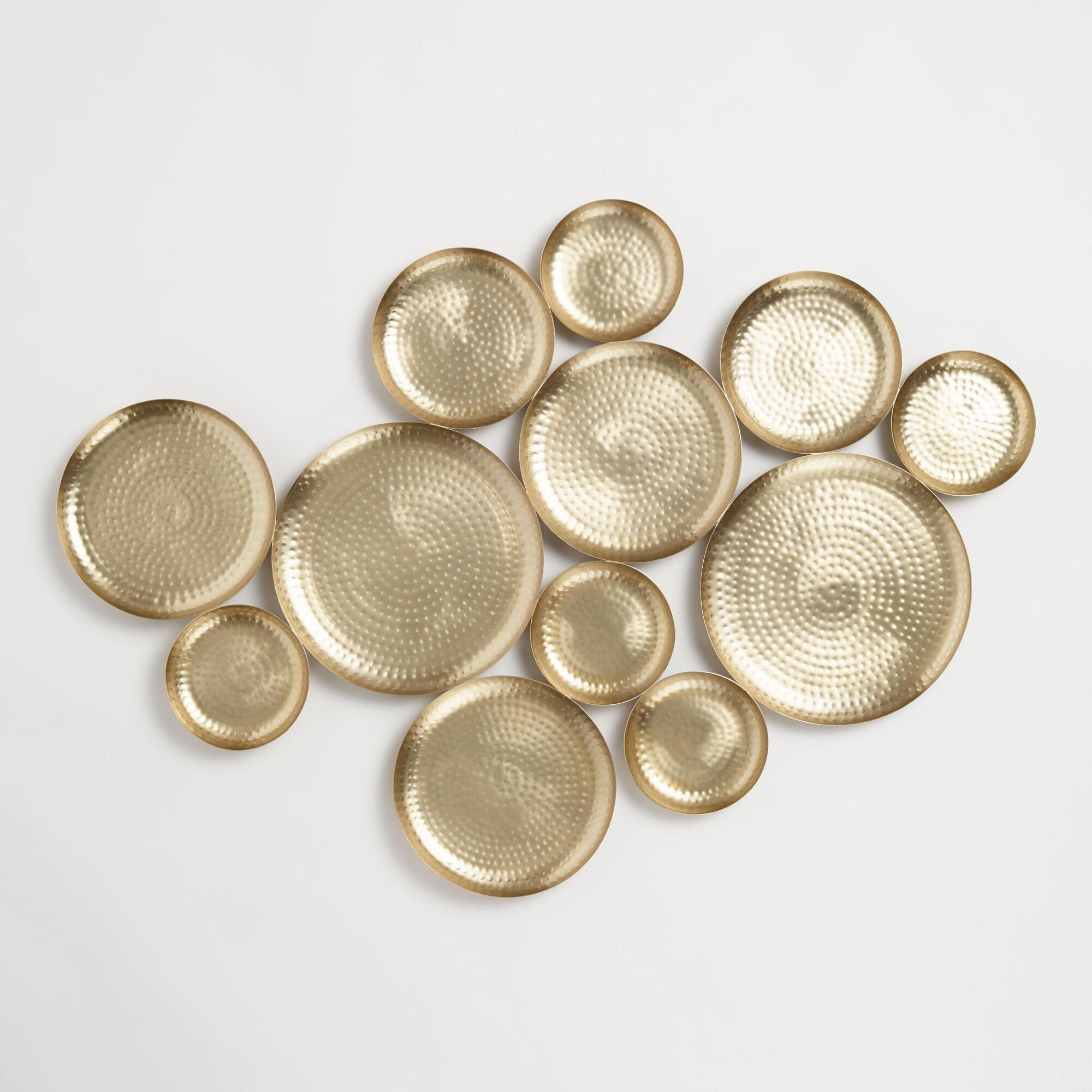 gold hammered discs wall art by world market gold wall on wall art id=76427
