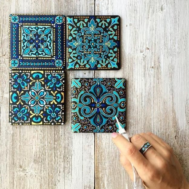 Photo of Fabulous Blue Colors and Romantic Patterns, Ceramic Tiles Painting by Anastasia Ropalo