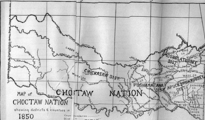 Map of the Choctaw Nation 1850