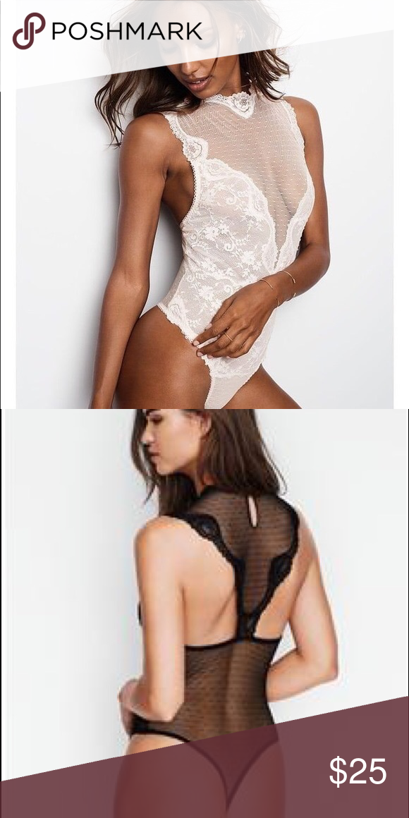 eef13385745 VS Lace and Dot Mesh High Neck Teddy! Super stretchy and lovely!