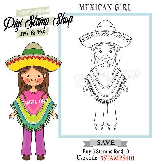 Mexican Girl Stamp Digital Stamp Fiesta Stamp Digi Stamp Digital
