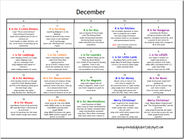 Planned out month of December activities