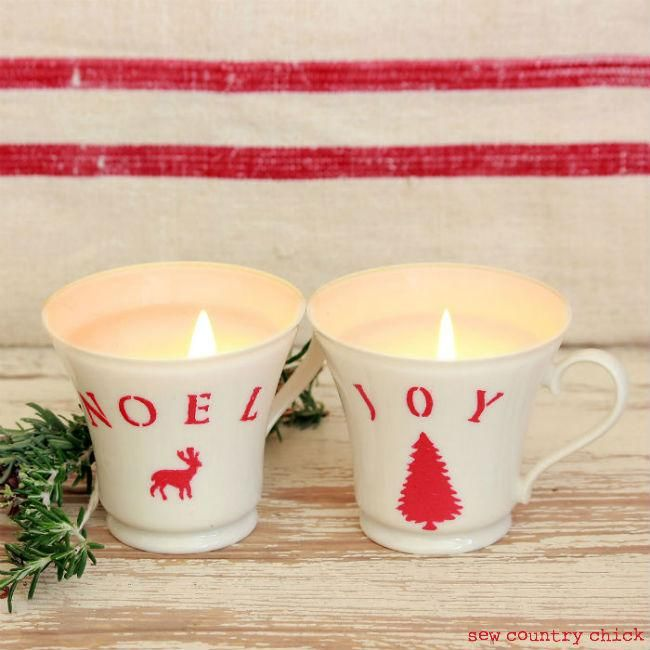 DIY Candles : DIY Easy Christmas Teacup Candles: Martha Stewart Paints