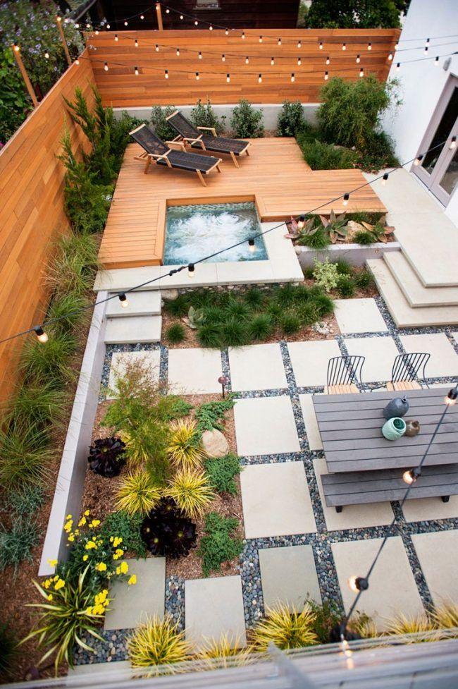 Gartenplanung Ideen Vogelperspektive Hinterhof  Gartenlounge Outdoor Whirlpool Gartensitzbereich