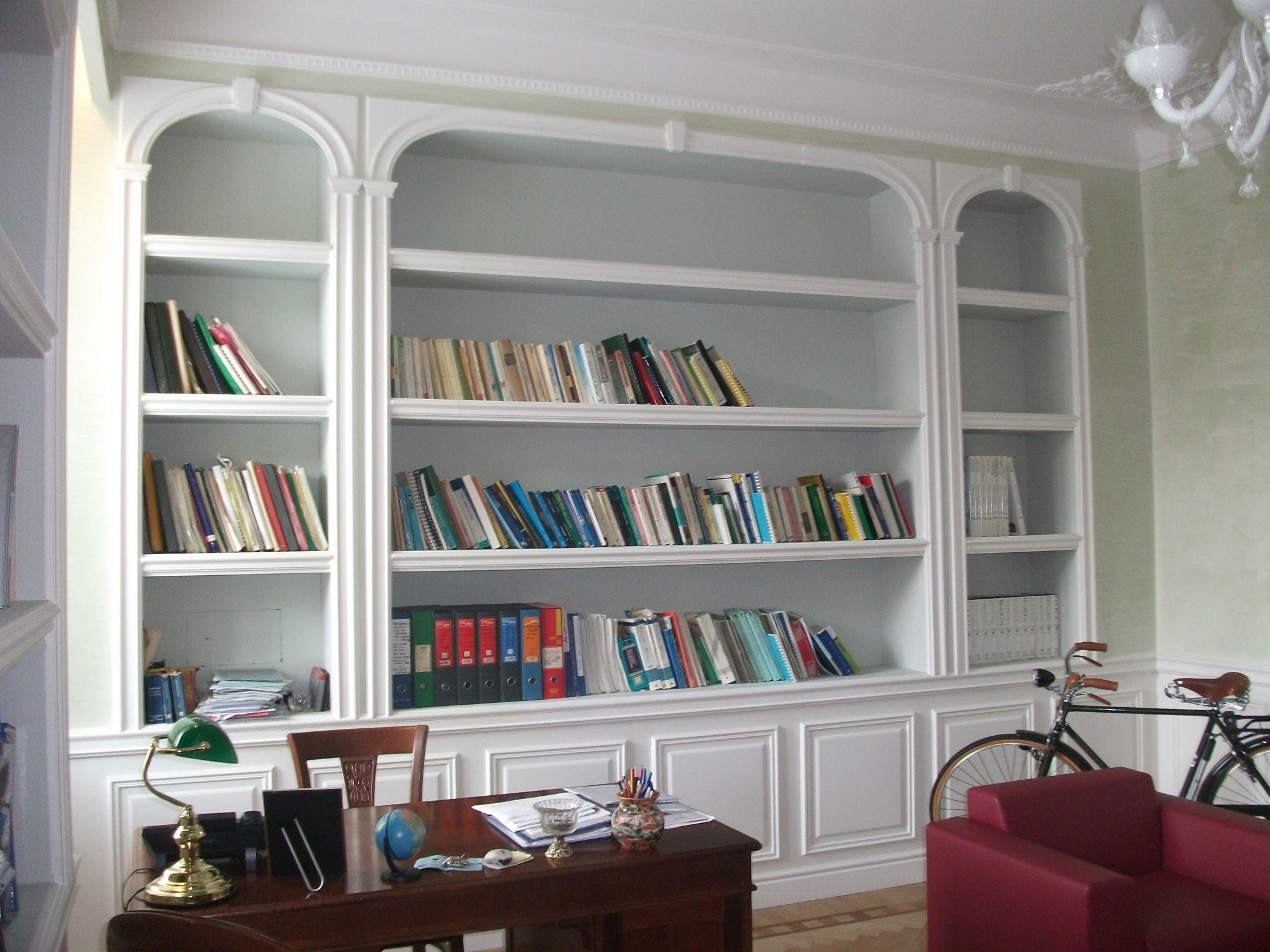 Libreria Classica Soggiorno.Libreria Cartongesso Classica Modanature Pareti