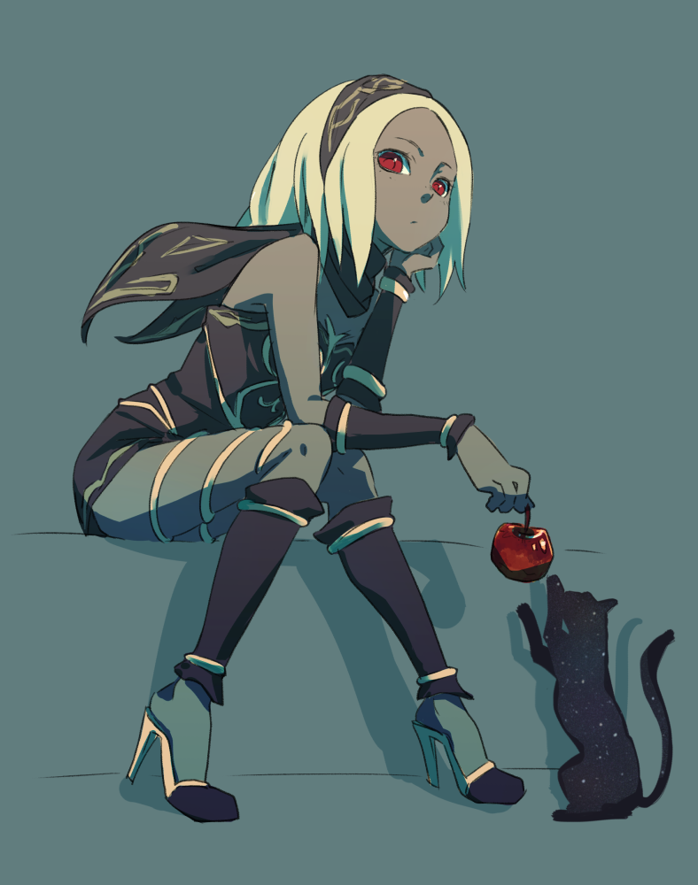 Anime Picture Search Engine 1girl Ammonio Apple Bare Shoulders Blonde Hair Cat Chin Rest Dark Skin Food Fruit Gravit Gravity Rush Kat Anime Character Design