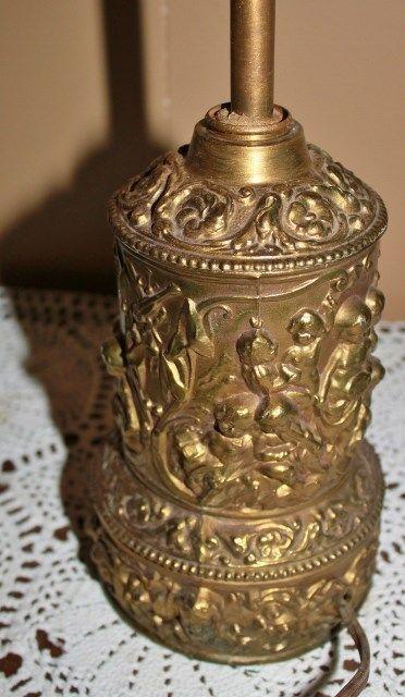 Vintage Ornate Brass Lamp Childern Cherub Cupid Playing