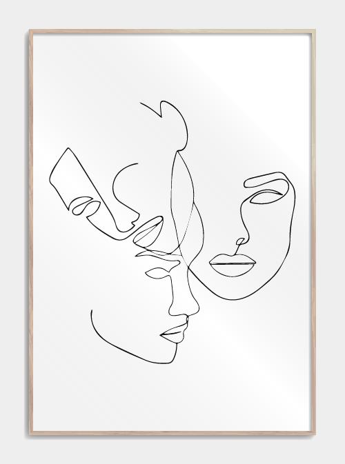 Three faces in one line plakat #abstraktezeichnungen design_plakater_med_one_lin…