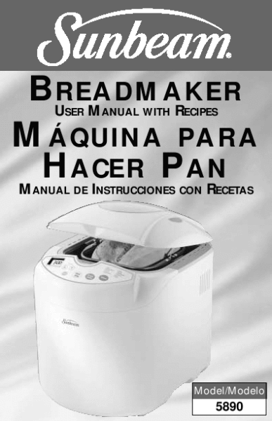 sunbeam bread maker 5890 user manual with recipes seefood diet rh pinterest com Sunbeam Bread Maker Instruction Book Sunbeam Bread Maker Directions