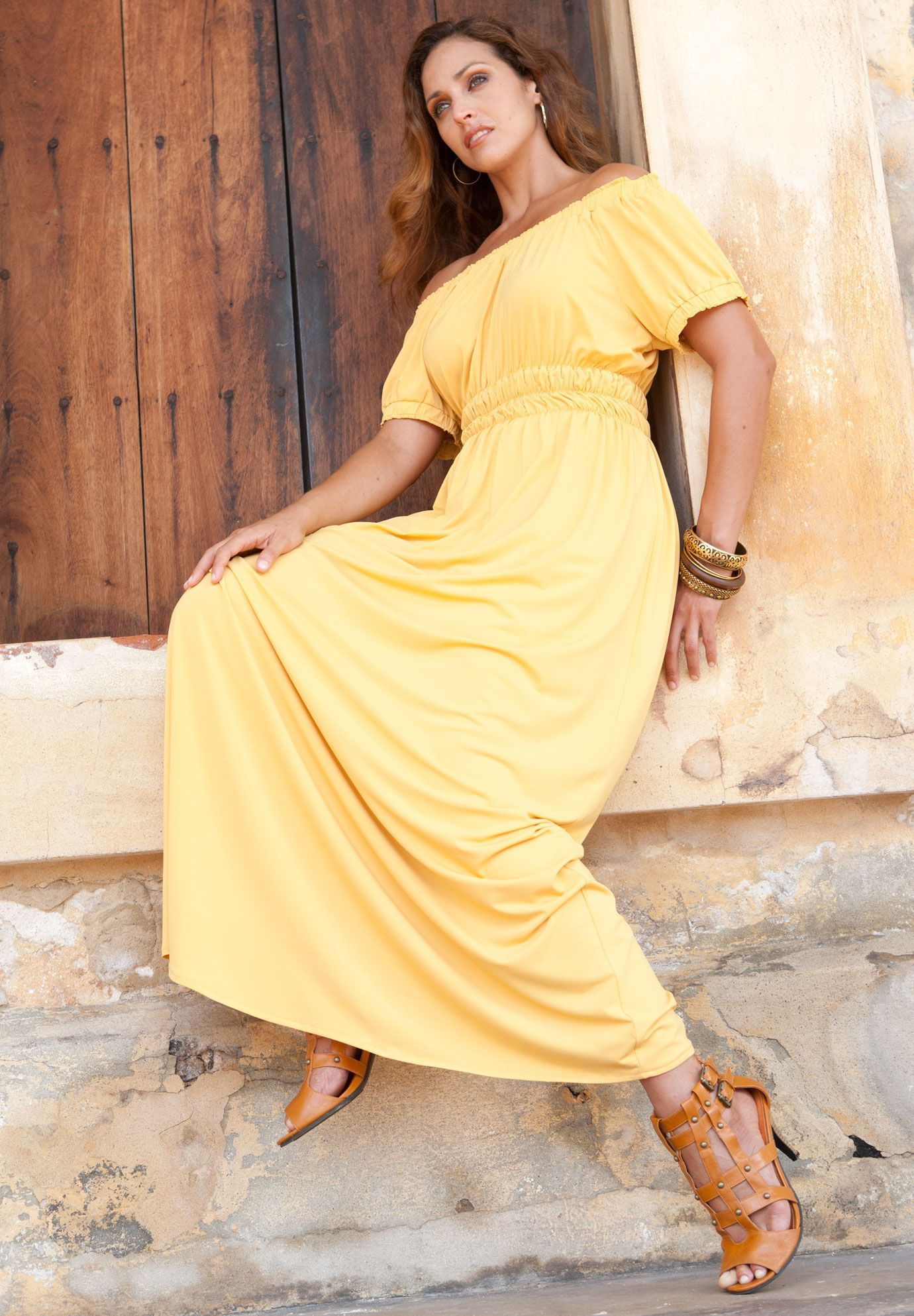 422774c3450 Plus Size Peasant Style Maxi Dress