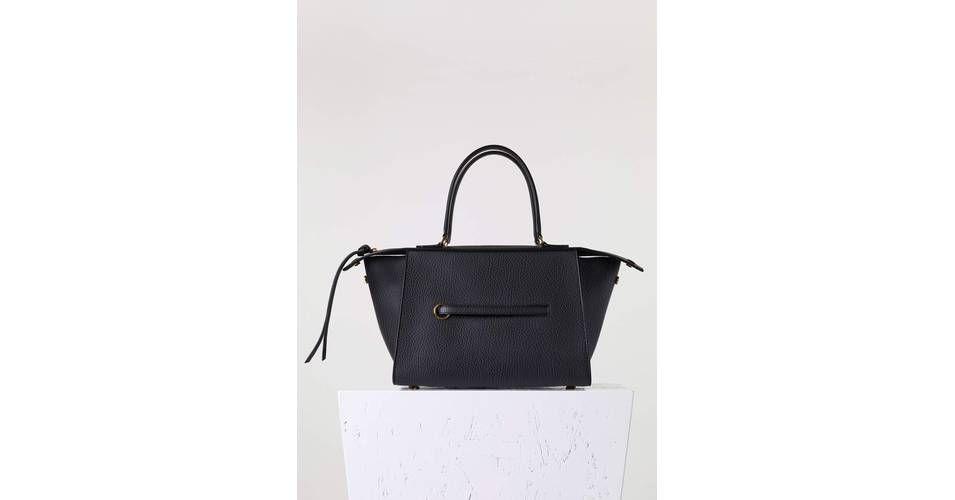 Small Ring Bag in Black Bullhide Calfskin